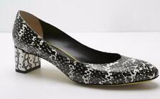 FENDI Womens Black & White Snake-Print Embossed Leather Block-High-Heel 8.5/38.5