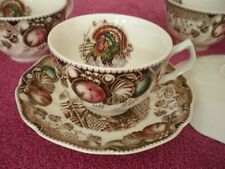 Vintage-Johnson Bros. England His Majesty Thanksgiving 4 Cup & 2 Saucer Excllent