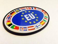 EUROPEAN UNION OVAL EU BADGE WITH FLAGS - VW BMW MERCEDES AUDI - FREE SHIP