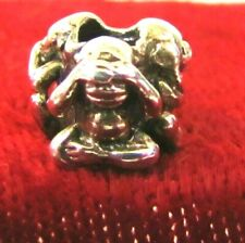 "AUTHENTIC TROLLBEADS ""THREE MONKEYS"" HEAR,SEE & SPEAK NO EVIL STERLING NOS"