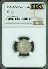 1870 WIDE-O CANADA 10 CENTS NGC MAC AU-50 FDS FIRST DIE STRIKE RARE.
