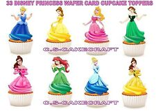 30 Disney Princess STAND UP Cupcake Fairy Cake Toppers Edible Rice Wafer Card