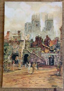 Vintage original Watercolour York cathedral By L E Patchett 1941