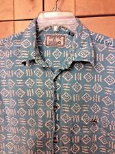 Vintage 80's Fashion Police Mens Teal Aqua Blue & White Geometric Cotton Shirt L