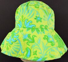 Green Blue Flower pattern bath and body works bucket sun hat cap fitted