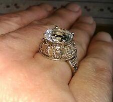 Vintage Sterling & 5ct Round Cut Genuine White Topaz Statement Ring Size 7