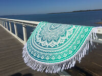 Indian Roundie Round Mandala Hippie Tapestry Beach Throw Ombre Yoga Mat Bohemian
