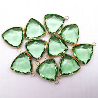 6Pcs  Wrapped Faceted Cyan Crystal Triangle Pendant Bead 21x18x6mm NN1409