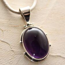Colgante Amatista Plata 925 Púrpura Colgante de Collar Cabujón gema Indra