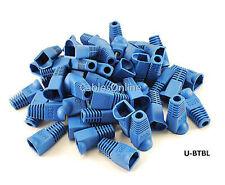 RJ45 Cat5e/ Cat6 Ethernet Cable Plug Strain Relief Boots 50-Pack, Blue