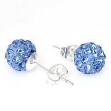 8mm Light Blue Rhinestones Crystal Fireball Disco Ball Pave Bead Stud Earrings