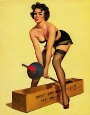 "RETRO PINUP GIRL CANVAS PRINT 24X16"" Poster Gil Elvgren Gym Weights fail"