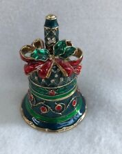 Fitz & Floyd Guild Collection Enamel & Crystal Christmas Bell Trinket Box