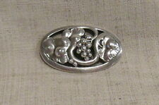 Georg Jensen Oval Sterling Silver Pin Brooch with Grapevine Design 177B