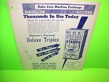 Shipman Mfg. Co Deluxe Triple Original Stamp Vending Machine Promo Sales Flyer