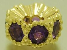 Bd064- Large AUTHENTIC Genuine 9ct Solid Gold NATURAL Amethyst LARGE Heavy  Bead