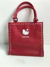 Hello Kitty Handbag Purse Red with White Top Stitching Double Handle Sanrio 2005