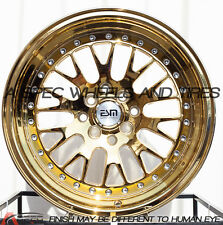16X9 ESM 007 Wheels 4X100/114.3 GOLD PLATINUM RIMS +15 FITS 4 LUG HONDA CIVIC
