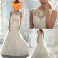 New Mermaid White/Ivory Wedding Dress Bridal Gown Stock Size 6 8 10 12 14 16