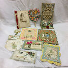 11 Vintage Paper Cards Pieces Valentines Easter Hearts Embossed Scrap booking