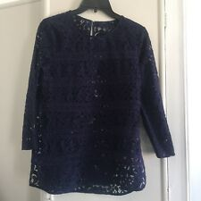 Blue Lace Top Size 12 Crochet Navy Blouse Sheer