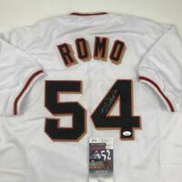 Autographed/Signed SERGIO ROMO San Francisco White Baseball Jersey JSA COA Auto