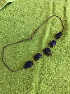 Large Vintage Art Nouveau 925 Silver Blue Lapis Stones Necklace 33g