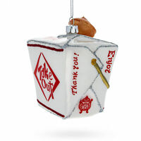 Chinese Takeout Box with Fortune Cookie Glass Christmas Ornament 4.25 Inches