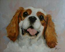 Original Oil painting - pet portrait of a cavalier king charles spaniel  dog