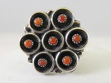 Coral Native American (738) Sterling Shadowbox Style Ring w