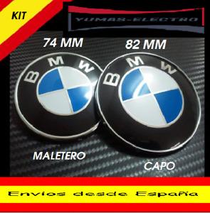 PACK LOGO EMBLEMA INSIGNIA BMW 82mm- 74mm  CON 2  PINES PARA CAPO Y MALETERO