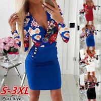 Women Plus Size Sexy V Neck Long Sleeve Sheath Rose Printed Button Mini Dress NA