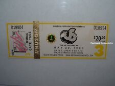US FESTIVAL 1983 Unused Ticket U2 DAVID BOWIE Pretenders BERLIN Missing Persons