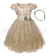 NEW Kid Flower Girl Pageant Formal Party Dress Headband Green Beige SZ 5-6 Z595B