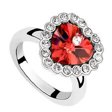 Romantic Red Heart Love Crystal Adjustable Ring for all sizes FR123