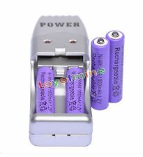 4x AAA 3A 1800mAh 1.2 V Ni-MH Rechargeable Battery Purple + AA AAA USB Charger