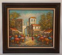 "Mid Century European Flower Market Scene Oil on Canvas Signed Painting 31"" X 27"""