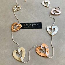 UK Ladies Designer Long Silver Rose Gold Heart Statement Necklace Jewellery UK