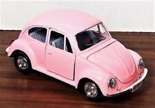 Vintage PINK VW BEETLE Big Diecast Metal Car FRICTION TOY Rare! MINT Shackman