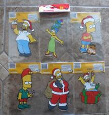 """SET OF 6 SIMPSONS CHRISTMAS WINDOW CLINGS 8"""" Homer Marge Bart Reusable Car >NEW<"""