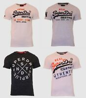 Superdry Mens New Vintage Logo Short Sleeve Crew Neck Print T-Shirt White Grey
