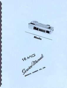 Minolta 16 MG Subminiature Camera Service & Repair Manual Reprint