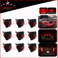 "9x Round 3/4""Red LED Rear Auxiliary Stop Turn Brake Tail Lights Truck Trailer"