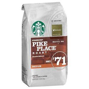 2 Starbucks Coffee Pike Place Medium Roast Ground - 20 oz. Bag