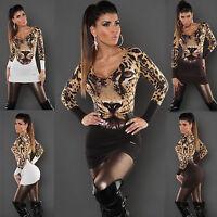 WOMEN JUMPER MINI DRESS CLUBBING LADIES TIGER PRINT PARTY SWEATER SIZE 6 8 10 12