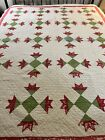 Circa 1800s Antique Handmade Hand Quilted Red & Green Goose Tracks Quilt #496