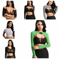 Sexy Womens Slim Long Sleeves Sheer Buckle Tank Blouse Crop Top T-shirt Clubwear