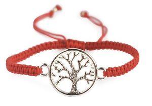 Tree of life bracelet red adjustable silver pendant ethnic druid pagan tribal
