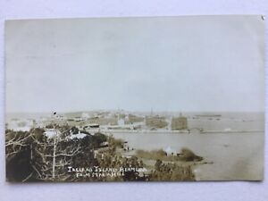 Bermuda Ireland Island from Maria Hill with floating dock c.1910 RP postcard
