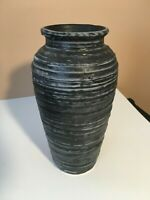 **Vintage HARRIS POTTERIES BLACK GREY TEXTURED URN VASE EXCELLENT w/LABEL